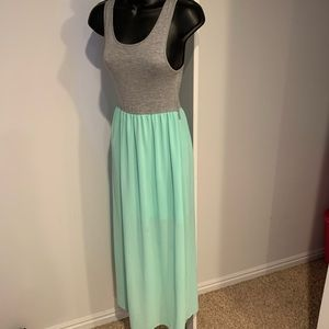 RUE21 grey with sheer mint green teal maxi dress